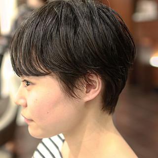 ショート ヘアアレンジ パーマ 黒髪 ヘアスタイルや髪型の写真・画像