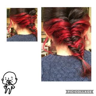 フィッシュボーン インナーカラー ヘアアレンジ ショート ヘアスタイルや髪型の写真・画像 ヘアスタイルや髪型の写真・画像
