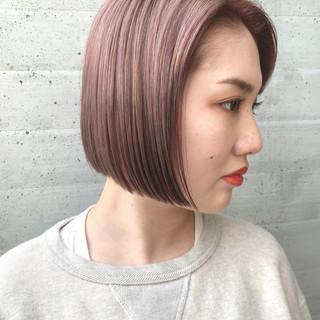 ピンクパープル ハイトーン ボブ ダブルカラー ヘアスタイルや髪型の写真・画像