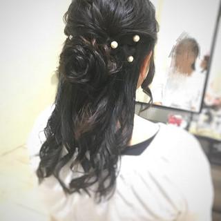 ハーフアップ パーティ お花ヘア ヘアアレンジ ヘアスタイルや髪型の写真・画像