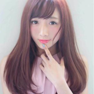 ふわふわ ピンク ロング ガーリー ヘアスタイルや髪型の写真・画像