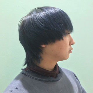 アディクシーカラー メンズカット ストリート ネイビーブルー ヘアスタイルや髪型の写真・画像