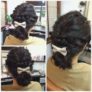 結婚式 お団子 ヘアアレンジ シニヨン ヘアスタイルや髪型の写真・画像