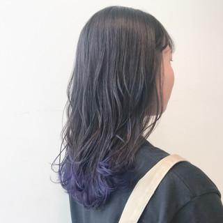 グラデーションカラー モード 透明感カラー セミロング ヘアスタイルや髪型の写真・画像