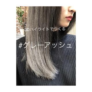 アッシュグレージュ ナチュラル 3Dカラー ブリーチ ヘアスタイルや髪型の写真・画像 ヘアスタイルや髪型の写真・画像