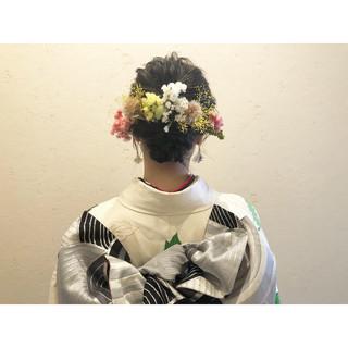 ドライフラワー ヘアアレンジ ナチュラル 振袖ヘア ヘアスタイルや髪型の写真・画像