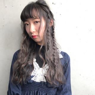 ロング ガーリー 編み込み 三つ編み ヘアスタイルや髪型の写真・画像