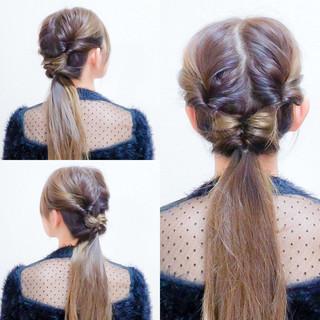 簡単ヘアアレンジ フェミニン セルフヘアアレンジ ロング ヘアスタイルや髪型の写真・画像 ヘアスタイルや髪型の写真・画像