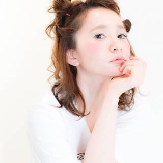 ナチュラル ショート ミディアム 簡単ヘアアレンジ ヘアスタイルや髪型の写真・画像