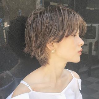 ショート 前髪あり ナチュラル ヘアアレンジ ヘアスタイルや髪型の写真・画像