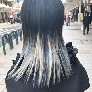 セミロング モード ブリーチカラー ブリーチオンカラー ヘアスタイルや髪型の写真・画像 ヘアスタイルや髪型の写真・画像