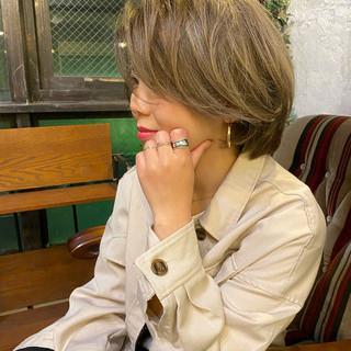 ヘアカラー 外国人風カラー バレイヤージュ ボブ ヘアスタイルや髪型の写真・画像