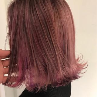 ロブ ピンク ボブ ミディアム ヘアスタイルや髪型の写真・画像