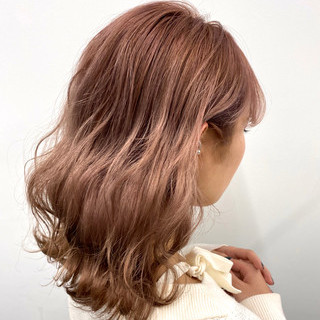 インナーカラー ラベンダーピンク ピンクベージュ ピンクカラー ヘアスタイルや髪型の写真・画像