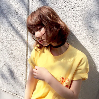 パーマ ボブ モテ髪 ナチュラル ヘアスタイルや髪型の写真・画像