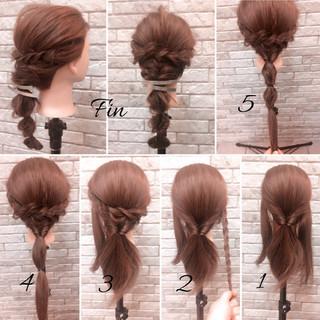 編み込み ツイスト ヘアアレンジ 春 ヘアスタイルや髪型の写真・画像