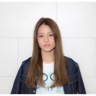 ロング ストリート 暗髪 フェミニン ヘアスタイルや髪型の写真・画像