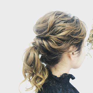 ミディアム ヘアアレンジ ヘアカラー セルフヘアアレンジ ヘアスタイルや髪型の写真・画像