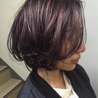 ピンク ガーリー ウェットヘア ボブ ヘアスタイルや髪型の写真・画像