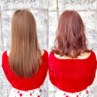 ベージュ 春 ミディアム ピンク ヘアスタイルや髪型の写真・画像