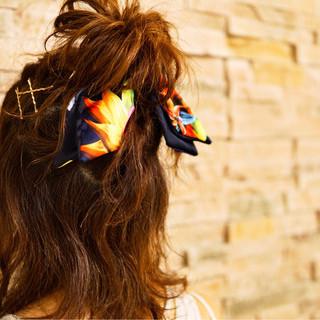 簡単ヘアアレンジ ハーフアップ ミディアム ヘアピン ヘアスタイルや髪型の写真・画像