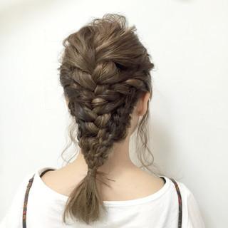編み込み ヘアアレンジ モテ髪 愛され ヘアスタイルや髪型の写真・画像