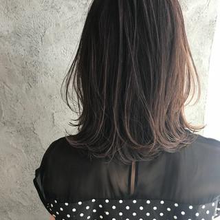 アッシュ ナチュラル ヘアアレンジ セミロング ヘアスタイルや髪型の写真・画像
