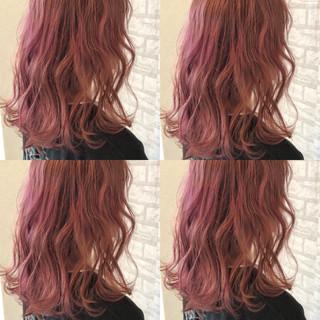 ラベンダーピンク 個性的 ピンク ミディアム ヘアスタイルや髪型の写真・画像