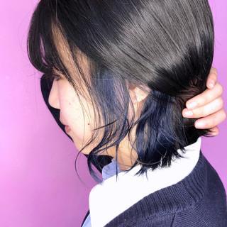 ショートボブ ガーリー ブルー ネイビーブルー ヘアスタイルや髪型の写真・画像