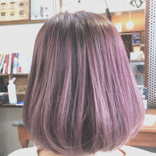 ピンクアッシュ 透明感カラー ボブ ピンク ヘアスタイルや髪型の写真・画像