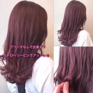 ブリーチ無し 透明感カラー ピンクベージュ フェミニン ヘアスタイルや髪型の写真・画像