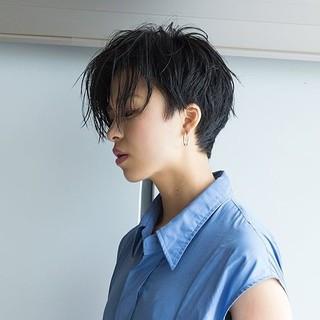 似合わせ 黒髪 ショート モード ヘアスタイルや髪型の写真・画像