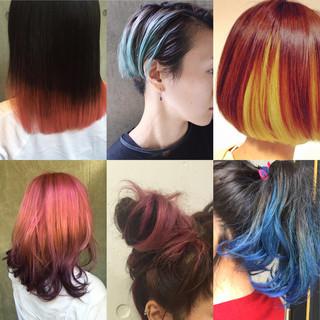 グラデーションカラー ハイライト ショート 暗髪 ヘアスタイルや髪型の写真・画像
