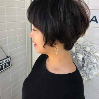 上品 デジタルパーマ ショートボブ ショート ヘアスタイルや髪型の写真・画像
