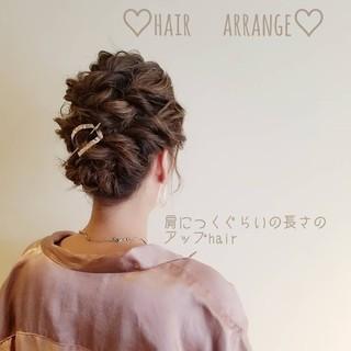 編み込み 結婚式ヘアアレンジ フェミニン 簡単ヘアアレンジ ヘアスタイルや髪型の写真・画像 ヘアスタイルや髪型の写真・画像