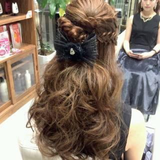ヘアアレンジ コンサバ ハーフアップ モテ髪 ヘアスタイルや髪型の写真・画像