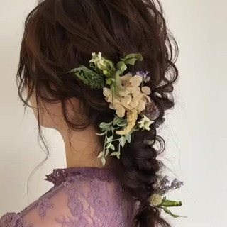 結婚式 ゆるふわ ウェーブ アンニュイ ヘアスタイルや髪型の写真・画像