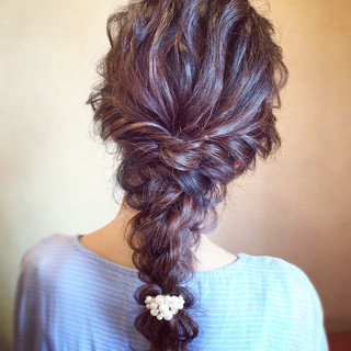 お呼ばれ 結婚式 編みおろし エレガント ヘアスタイルや髪型の写真・画像