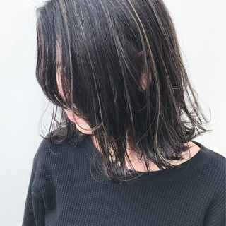 外ハネ 大人かわいい ハイライト ボブ ヘアスタイルや髪型の写真・画像