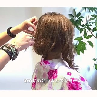 夏 エレガント セミロング お祭り ヘアスタイルや髪型の写真・画像