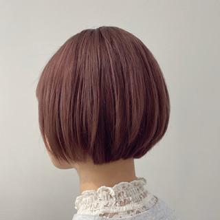 ピンクベージュ ピンク ミニボブ モード ヘアスタイルや髪型の写真・画像