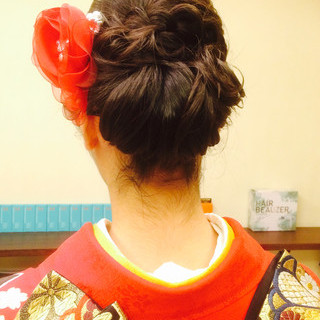 ミディアム 大人かわいい 着物 結婚式 ヘアスタイルや髪型の写真・画像