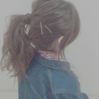 ポニーテール セルフヘアアレンジ ヘアアレンジ ゆるふわ ヘアスタイルや髪型の写真・画像 ヘアスタイルや髪型の写真・画像