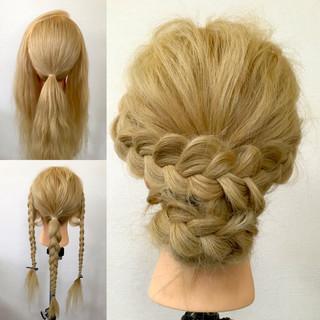 編み込み 大人かわいい ゆるふわ ショート ヘアスタイルや髪型の写真・画像