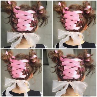 ハーフアップ フェミニン ショート 簡単ヘアアレンジ ヘアスタイルや髪型の写真・画像