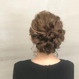 ガーリー 二次会 セミロング ヘアアレンジ ヘアスタイルや髪型の写真・画像