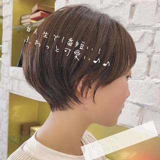 丸みショート ショートヘア 大人かわいい ナチュラル ヘアスタイルや髪型の写真・画像