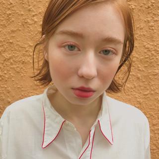 イエロー アンニュイ ガーリー ボブ ヘアスタイルや髪型の写真・画像