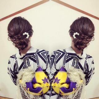 お祭り 和装 夏 上品 ヘアスタイルや髪型の写真・画像