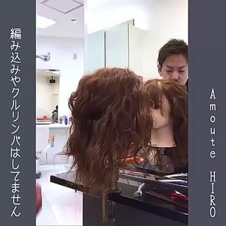 フェミニン ミディアム ルーズ ヘアアレンジ ヘアスタイルや髪型の写真・画像
